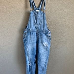 Forever 21 distressed light wash overalls